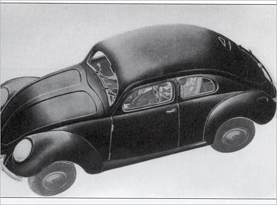 The onset of World War II and the collapse of the Third Reich temporarily halted the growing success of the Beetle. However, after the Allies took control of the factory that previously made the Beetle, mass production was resumed at the plant, thanks mainly to military orders from the British .