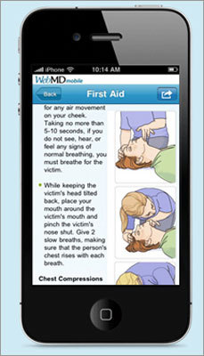 WebMD This app allows you to check your symptoms, look up first aid essentials, learn more about a specific condition via a search function, identify your pills by shape, color, and imprint, and find the closest hospital, pharmacy, and physician based on your location. Available for: iPhone, iPad Price: Free