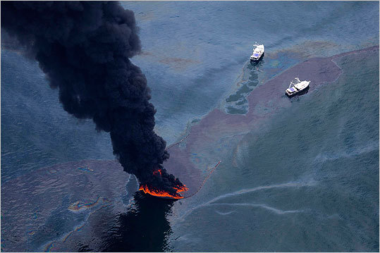 There were several measures taken to cap the oil well and get rid of the gushing oil. In this June 17, 2010 file photo, ships surrounded a controlled burn of oil on the surface of the Gulf near BP's spill source.