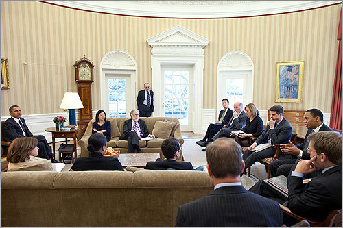 President Obama met with a group of senior advisers, including David Plouffe and Stephanie Cutter, in the Oval Office in March.