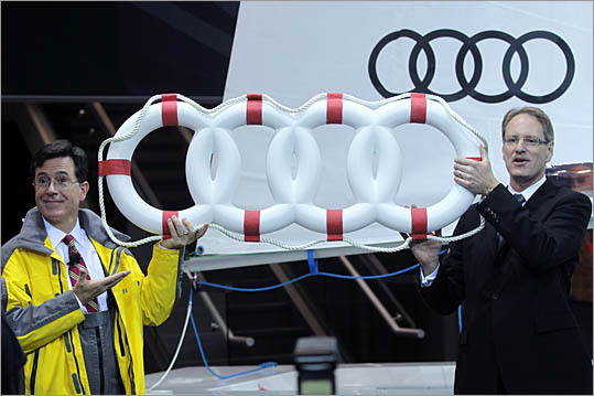 Then there was Stephen Colbert, who was given a life preserver in the shape of the Audi logo to use on his new sailboat. Johan de Nysschen, president of Audi of America, stood by as Colbert stole the stage in a fisherman's suit.