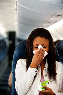 Avoid 'cabin fever' Many respiratory illnesses can be easily transmitted in crowded areas, including aircraft, Barry says. Be sure to wash your hands frequently because many germs that cause respiratory illness can be transmitted by contact. If you are seated next to someone who is obviously ill on the plane, ask to be re-seated if possible. Finally, make sure that you are vaccinated against illnesses like influenza before you travel.