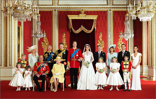 William and Catherine posed for an official photograph with their families in the throne room at Buckingham Palace. Front row from left to right, Grace van Cutsem, Eliza Lopes, Prince Philip, Britain's Queen Elizabeth, Margarita Armstrong-Jones, Louise Windsor, William Lowther-Pinkerton. Back row from left to right, Tom Pettifer, Camilla, Duchess of Cornwall, Prince Charles, Prince Harry, Michael Middleton, Carole Middleton, James Middleton, Pippa Middleton.