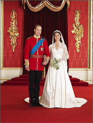 Prince William and Catherine 'Kate' Middleton, now known as the Duke and Duchess of Cambridge, were wed at London's Westminster Abbey on Friday, April 29. The bride and groom posed for an official photo in the throne room at Buckingham Palace.