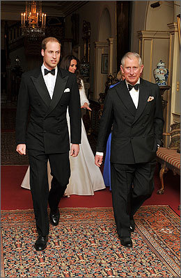 Prince William (left) and Prince Charles along with Catherine and Camilla, the Duchess of Cornwall (both in the background) left Clarence House to attend the evening celebrations.