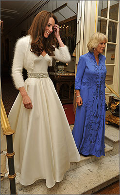 Catherine (left) and Camilla head out for evening parties following the royal wedding.