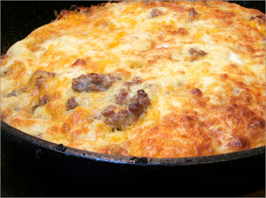 Sausage and cheese casserole Ingredients: Cooking spray, turkey breakfast sausage, 1 percent milk, egg substitute, dry mustard, salt, black pepper, eggs, bread, shredded reduced-fat cheddar cheese, paprika Calories: 184 See the full recipe