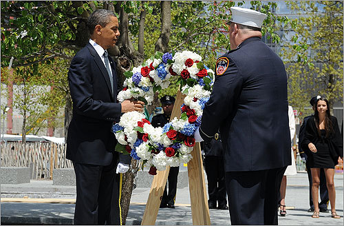 President Obama laid a wreath at the site of the collapsed Twin Towers of the World Trade Center in New York, paying tribute to victims of the Sept. 11, 2001, terrorist attack. The stop was the culmination of a New York visit in the wake of the US commando raid in Pakistan that killed terror mastermind Osama bin Laden.