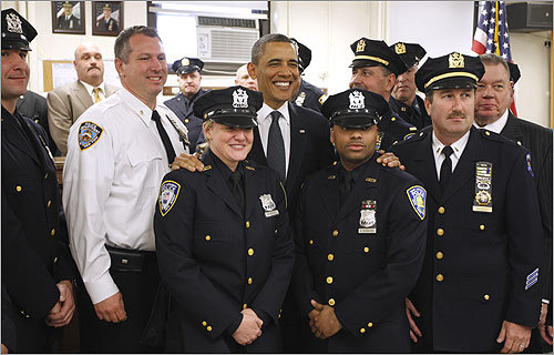 President Obama joined with police officers and first responders at the First Precinct before visiting the National Sept. 11 Memorial at ground zero.
