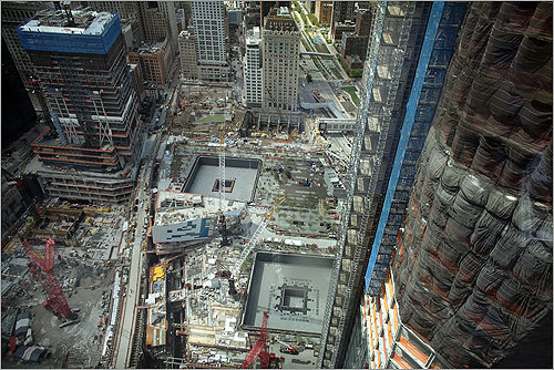 A view of construction at the World Trade Center site during the president's visit.