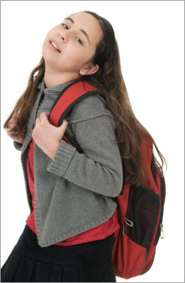 Distribute the weight Distribute weight of backpack evenly by wearing it on both shoulders rather than slinging it over one shoulder.