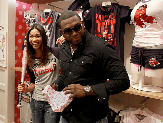 David Ortiz joined supermodel Chanel Iman (left) at the Victoria's Secret store in CambridgeSide Galleria to celebrate the launch of the company's new Major League Baseball clothing line. Click through to see more scenes from the event.