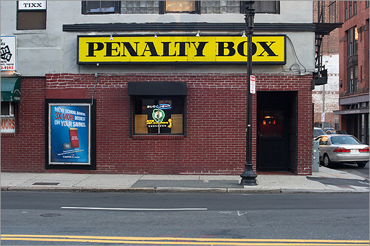 Penalty Box Neighborhood: North Station 65 Causeway St. Fans of the B's and C's fill this bar in the shadow of TD Garden on game nights. 'It's a stripped down type of bar where people get fired up for Bruins games,' O'Neil says. He remembers when the upstairs lounge used to host indie dance night The Pill: 'There would be these skinny mod kids waiting to get upstairs and the old grizzled drinkers just looking at them.' Also nearby: Sullivan's Tap