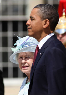Queen Elizabeth II and President Barack Obama reviewed an honor guard of the First Battalion Scots Guards at a welcome ceremony at Buckingham Palace. Obama began an official state visit to Britain on Tuesday, a rare honor for a US president.