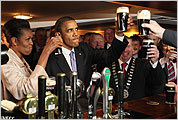 President Obama and wife Michelle raised pints in Moneygall, Ireland