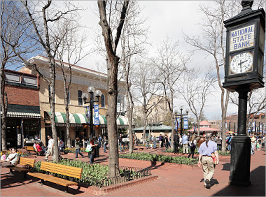 5. Boulder, Colo. Considered one of the healthiest cities in the country, Boulder holds up that reputation by topping the cities that order the most books in the health, fitness & dieting category. Pictured: The Pearl Street mall in downtown Boulder.
