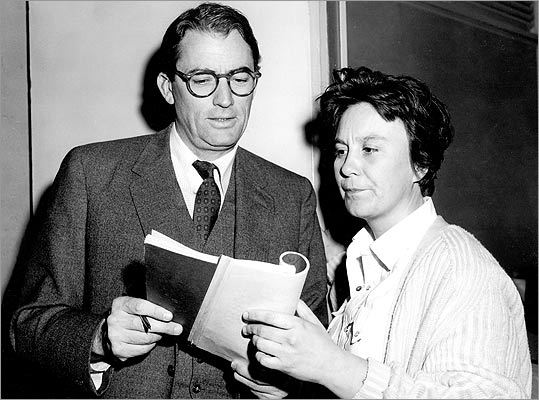 "Gregory Peck and Harper Lee on the set of ""To Kill a Mocking- bird.'' The film version of Lee's 1960 novel was released in '62."