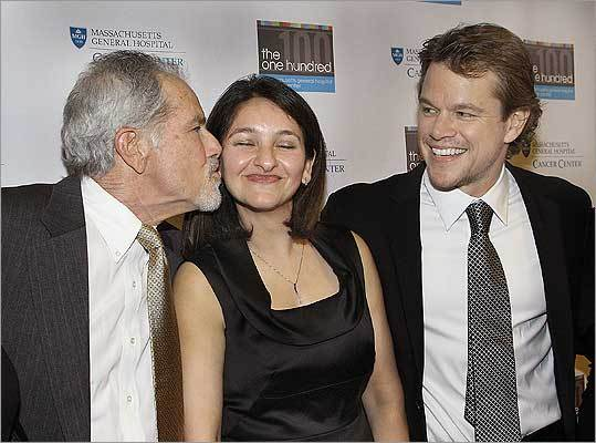 Matt Damon, his father Kent Damon, and Dr. Noopur Raje
