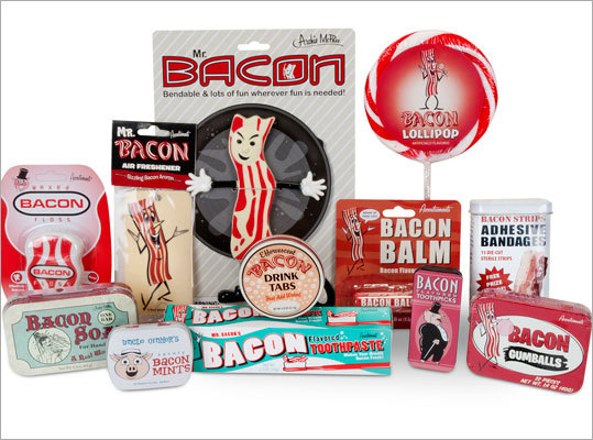 Bacon collection Price: $39.95 This bacon collection will fill every void in your bacon-loving dad's life. It comes with bacon lollipops, bacon soap, and bacon air fresheners.