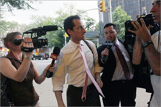 Anthony Weiner Representative Anthony Weiner resigned his seat after coming under growing pressure from his Democratic colleagues to leave the House in the wake of revelations of his lewd online exchanges with women.