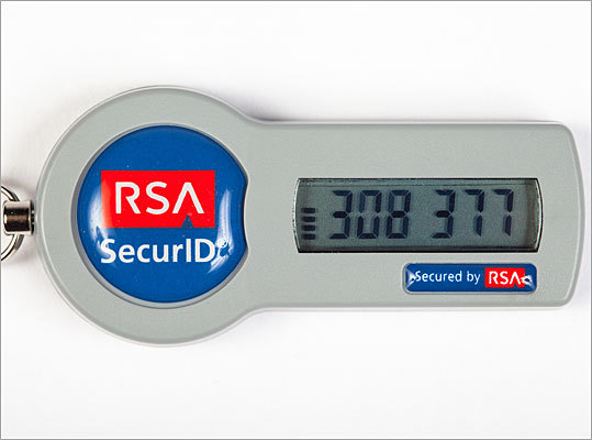 RSA SecurID devices breached Date: June 2011 The RSA Security division of EMC Corp. in Hopkinton was the target of a data breach that may have compromised some of the 40 million SecurID devices that the company has sold. The device works by entering two passwords – one memorized by the user and another randomly generated on the screen. The company did not release information on what exactly was stolen, but the company offered to replace the SecurID tokens.