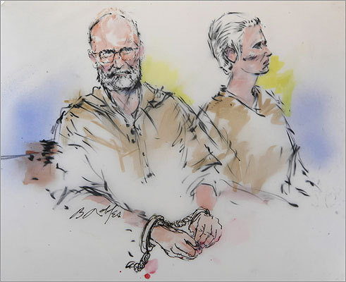 In this courtroom sketch, Bulger (left) and his girlfriend, Catherine Greig, were shown during their arraignment in a federal courtroom in downtown Los Angeles. Bulger and Greig agreed to return to Massachusetts following their capture in the oceanside community of Santa Monica, California.