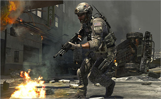 Call of Duty: Modern Warfare 2 (2009) An airport scene in which an undercover CIA agent guns down innocent people in a terrorist attack was so shocking that publisher Activision allowed players to skip the entire scene. Pictured is a scene from Call of Duty: Modern Warfare 3.