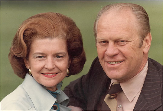 President Gerald Ford and his wife, Betty Ford, are shown in this photo from 1976. The former first lady died Friday at the age of 93.