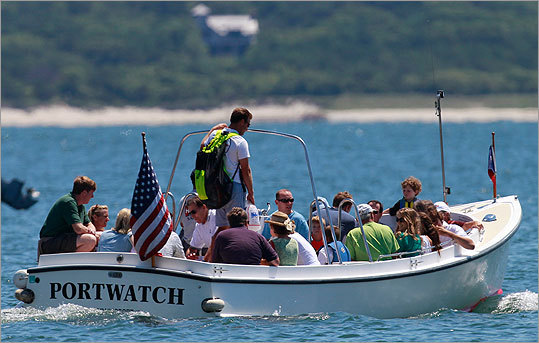 Patrick Kennedy and family members took a launch to their sailboat.