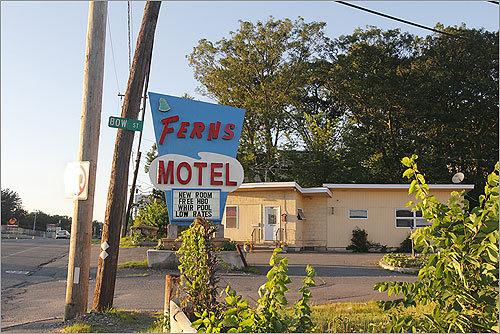 Ferns Motel sign.