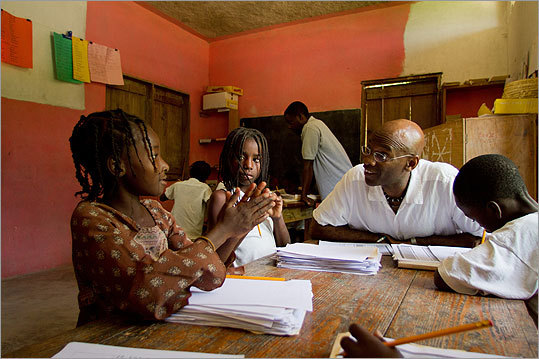 Michel DeGraff with students at the Creole-language school Lekòl Kominotè Matènwa in La Gonave, Haiti. DeGraff is an MIT Associate Professor of Linguistics, Syntax, Morphology, Language Change, Creole Studies, and Haitian Creole.