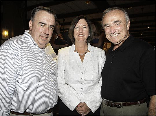 Boston Police Commissioner Ed Davis with former Boston Police Commissioners Kathy O'Toole and Bill J. Bratton