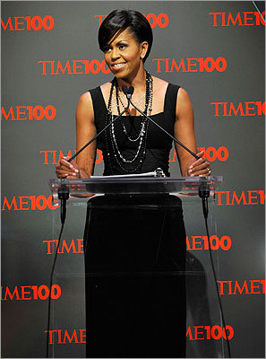Mrs. Obama addressed the audience during Time's 100 Most Influential People in the World Gala in New York City on May 5, 2009, wearing a sleek black Michael Kors gown with a Peter Soronen corset belt.