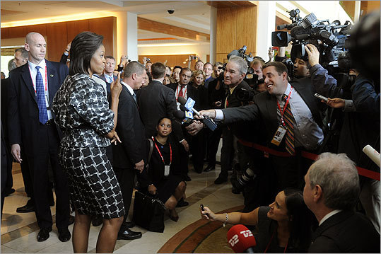 Mrs. Obama held the attention of the press wearing a black and white patterned Jason Wu dress with a Zero+Maria Cornejo jacket after her arrival in Copenhagen to promote the Chicago 2016 Olympic bid on Sept. 30, 2009.
