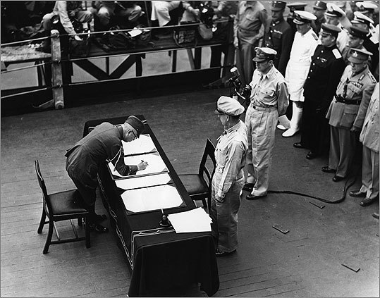 General Douglas MacArthur, as Supreme Commander of the Allied Forces, accepted the unconditional surrender document signed by the Japanese.