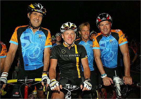 Sen. John Kerry , left, Lance Armstrong and Sen. Scott Brown gathered at the starting line of the 2011 Pan-Massachusetts Challenge on Saturday in Sturbridge. The two-day, 190-mile ride began early Saturday in Sturbridge and will end Sunday in Provincetown.