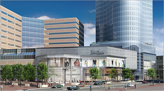 Indianapolis-based Simon is proposing to build 318 residences, a larger Neiman Marcus store, and a glass-enclosed garden with additional retail stores at the corner of Dartmouth and Stuart streets. Shown: View of the proposed building from the Massachusetts Bay Transportation Authority's Back Bay Station.