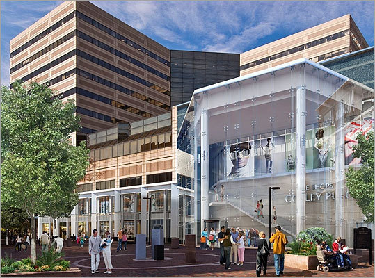Some neighbors have raised concerns, for example, that the project will add to the high winds and shadows thrown off by other skyscrapers in the area. But Simon asserted in its filing today the tower would not significantly increase wind in the area and would cast minimal new shadows on surrounding open spaces. Shown: A rendering of the southwest entry of the proposed building.