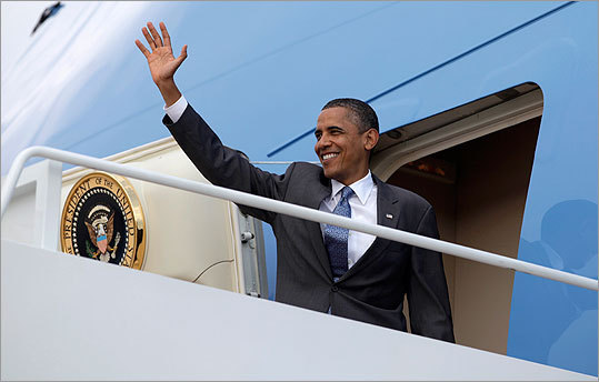 President Obama waved as he boarded Air Force One at Andrews Air Force Base.