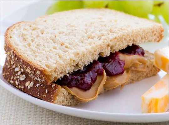 Re-mix that PB&J If you're the parent who always makes your child the school lunch standby of peanut butter and jelly, Ludwig suggests tweaking the main ingredients to boost the nutritional value of the sandwich. 'Use whole grain bread, trans-fat free peanut butter, and how about using a 100 percent fruit spread instead of that sugary jelly,' he said.