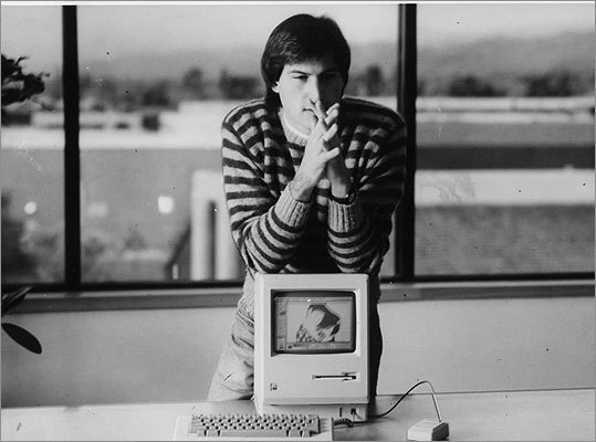Jobs with the Macintosh SE/30 during its unveiling in 1989.