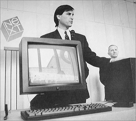 After co-founding Apple in the late '70s, Jobs left the company in the mid '80s to start another computer company, NeXT. Shown: Steve Jobs unveiled his NeXT computer at a press conference in San Francisco in October 1988.