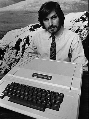 Steve Jobs introduced the new Apple II computer in Cupertino, Calif., in 1977.