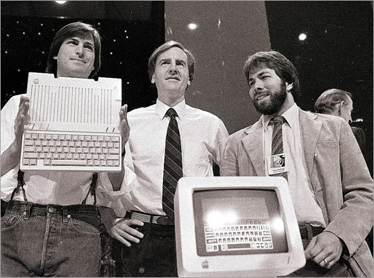 Steve Jobs; John Sculley, center, then Apple president and chief executive; and Steve Wozniak, co-founder of Apple, unveiled the Apple IIc computer in San Francisco in 1984.