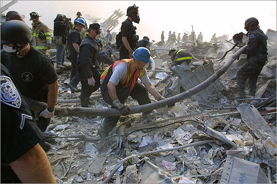 Following the devastating attacks, rescue workers put out fires and searched for bodies and survivors at various sites in the rubble of the World Trade Center. Rescuers sifted through rubble at ground zero on Sept. 13, 2001.