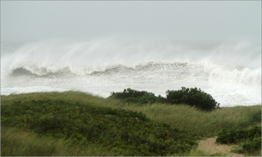 Waves broke on the south side of Martha's Vineyard Sunday.