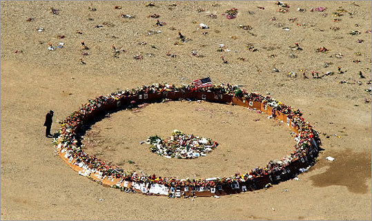 A memorial circle was placed at the bottom of ground zero during the first anniversary of the attacks.