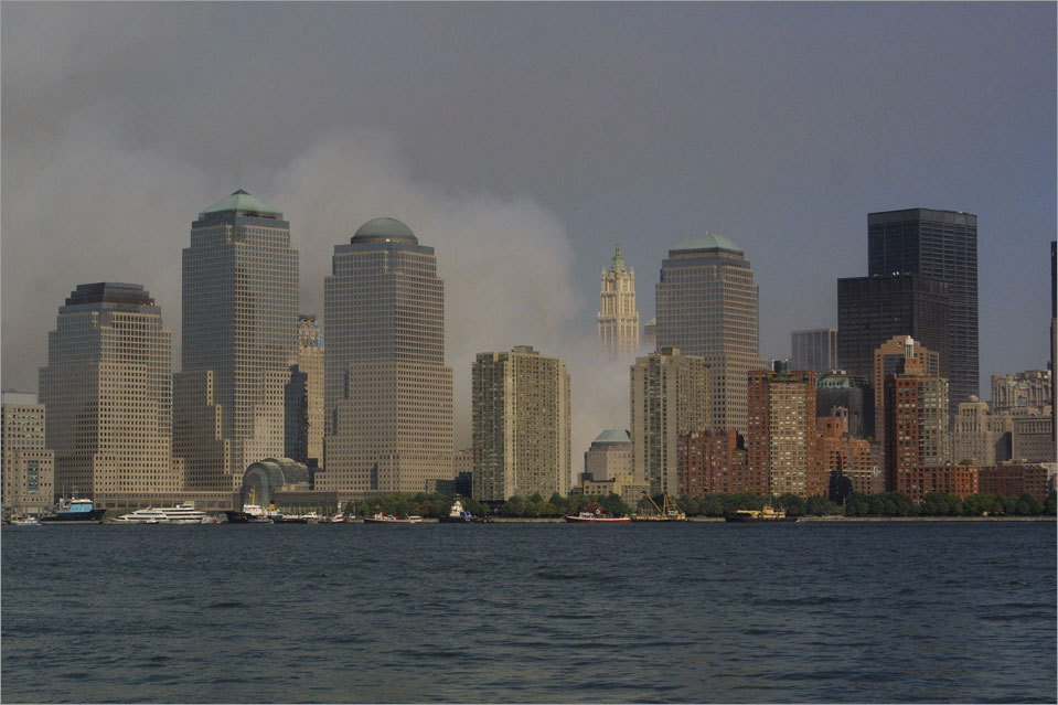 The New York City skyline as seen from Jersey City, N.J., without the twin towers on Sept. 12, 2001.