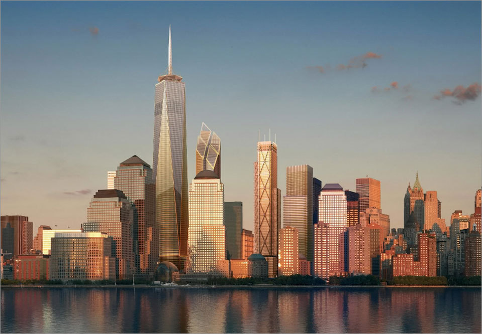An artist rendering shows the future Manhattan skyline from the Hudson River as proposed after the construction of One World Trade Center (formerly known as the Freedom Tower) and other World Trade Center buildings.
