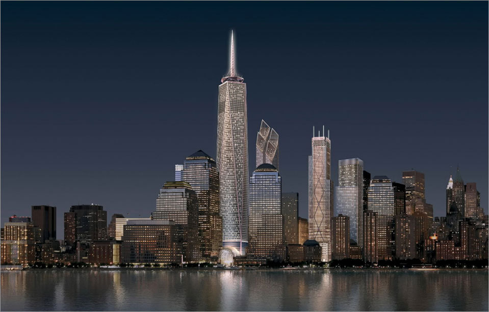 An artist rendering of the future Manhattan skyline at night.